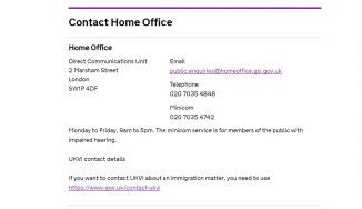 Home Office Customers Contact Number: 020 7035 4848