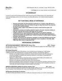 human resources generalist sle resume r hill hr generalist resume feb 2013