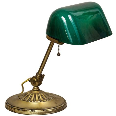 Banker's Lamp With Green Cased Glass Shade