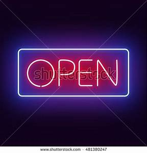 Open Neon Sign Stock Vector Shutterstock