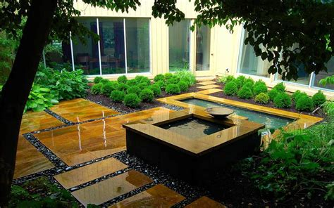 modern landscape  water feature camp hill pa