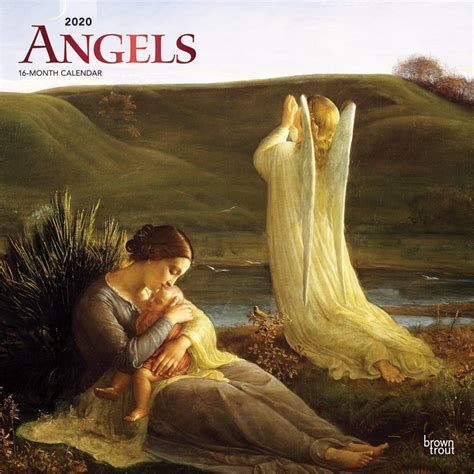 angels monthly square wall calendar foil stamped