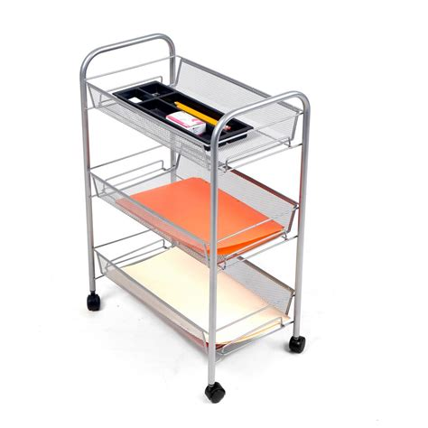 Mind Reader Roll Rolling Metal Mesh 3 Shelf Coffee Cart