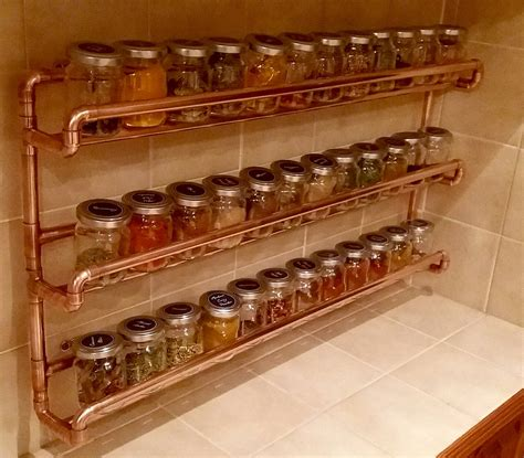 Spice Rack On Wall by Copper Pipe Spice Rack Wall Mounted With Jars Custom