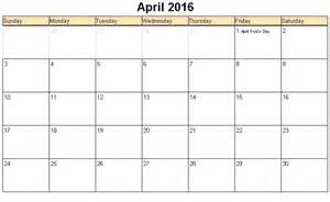 April 2016 Monthly Calendar Printable