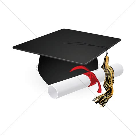 graduation hat graduation cap and diploma scroll vector image 1269867 stockunlimited