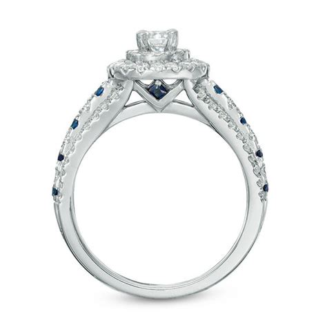 vera wang love collection 7 8 ct t w diamond and blue sapphire double frame engagement ring in