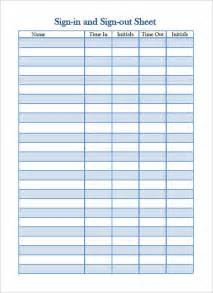 Sign Out Sheet Template Excel