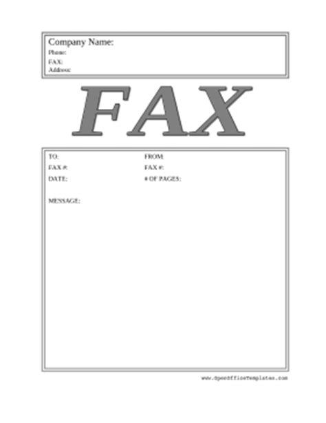 Fax Cover Letter Template Open Office by Big Gray Fax Cover Sheet Openoffice Template