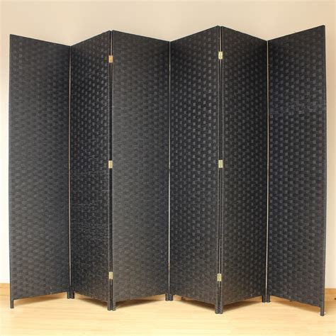 Black 6 Panel Solid Style Wicker Room Divider Hand Made