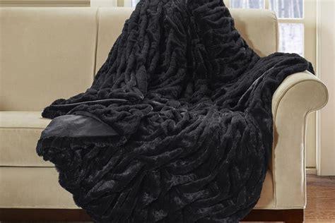 ruched black faux fur throw  gardner white