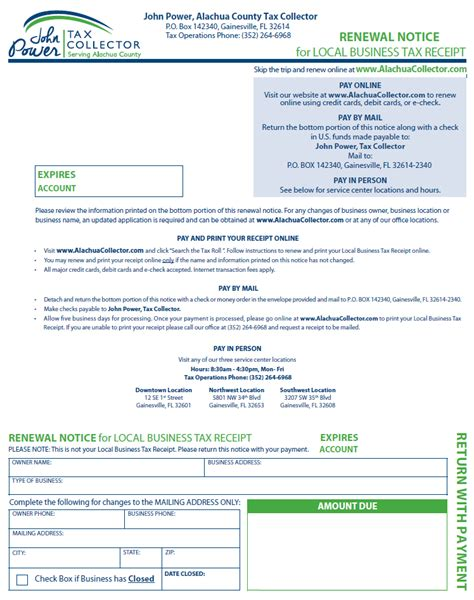 tax collector s office mailing local business tax receipt
