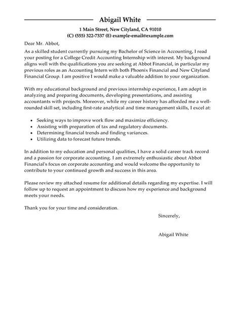 training internship college credits cover letter