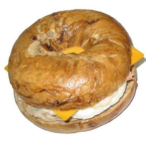 Seattle's Favorite Breakfast Sandwich French Toast Bagel, Ham, Sausage, Egg & Cheese