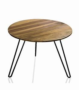 Table Basse Bois Metal : table basse de salon ronde en bois et m tal ~ Teatrodelosmanantiales.com Idées de Décoration