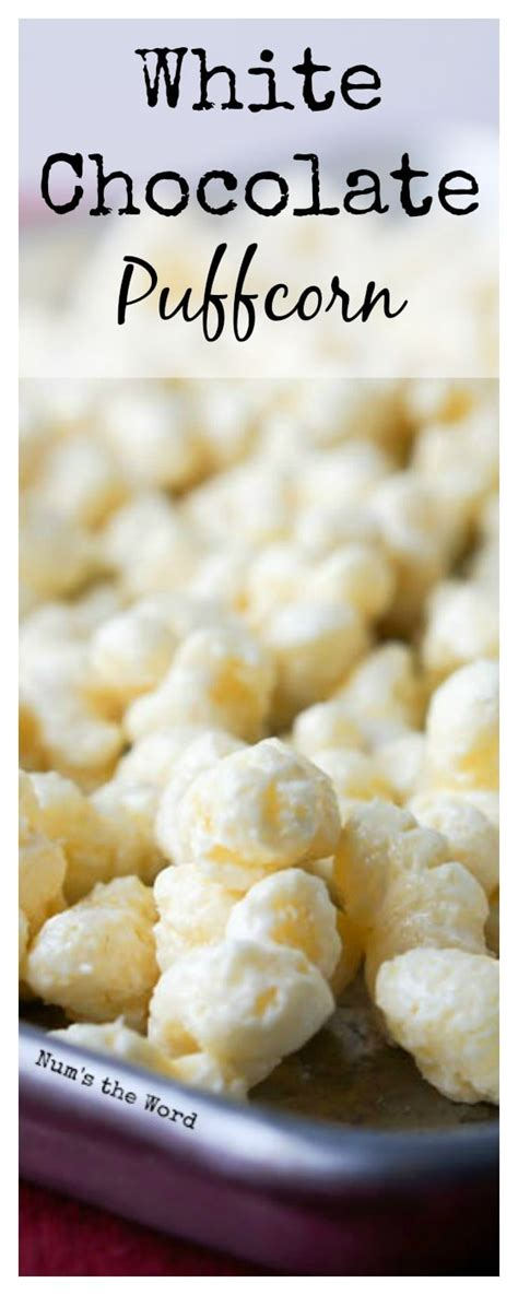 white chocolate puffcorn nums  word