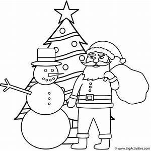 Snowman with Santa and Christmas Tree - Coloring Page ...