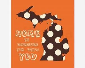Home State Map Wall Art Print Fall Orange Brown Beige