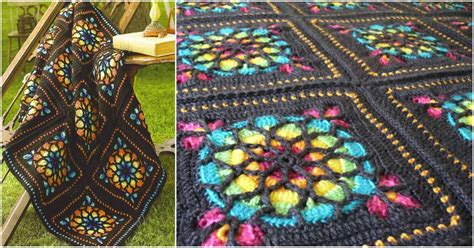 stained glass afghan square crochet pattern  tutorial
