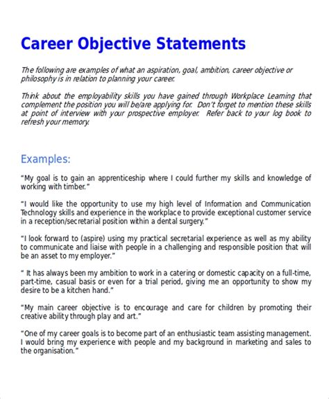 Exle Of Career Objective by Sle Career Objective Statement 7 Exles In Word Pdf