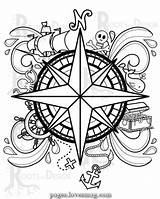 Coloring Compass Pirate Printable Drawing Immediate Down Mandala Doodle Dessin Instant Coloriage Colorier Adult Celtique Lovesmag Books Feuilles Jeux Tattoo sketch template