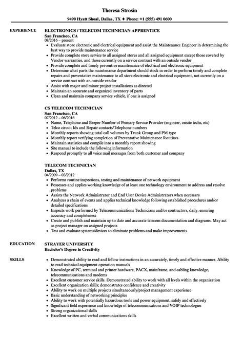 Telecommunications Technician Resume Examples
