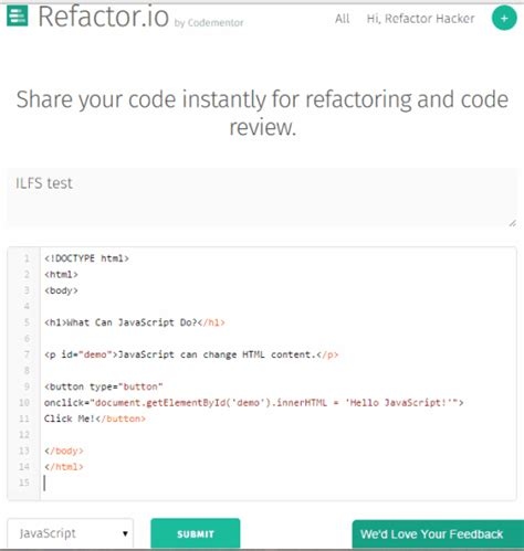 your code for code reviewing and refactoring