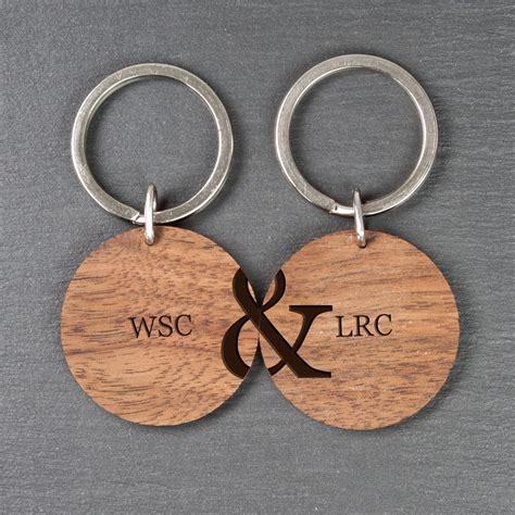 personalised couples set   wooden keyrings treat