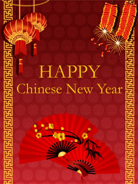 chinese  year fan card birthday greeting cards  davia