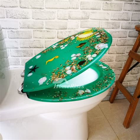 green resin oval slow close toilet seat funky