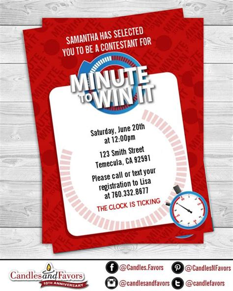 Planning my daughter's 13th birthday party. Minute To Win It Birthday Party Invitation Professionally