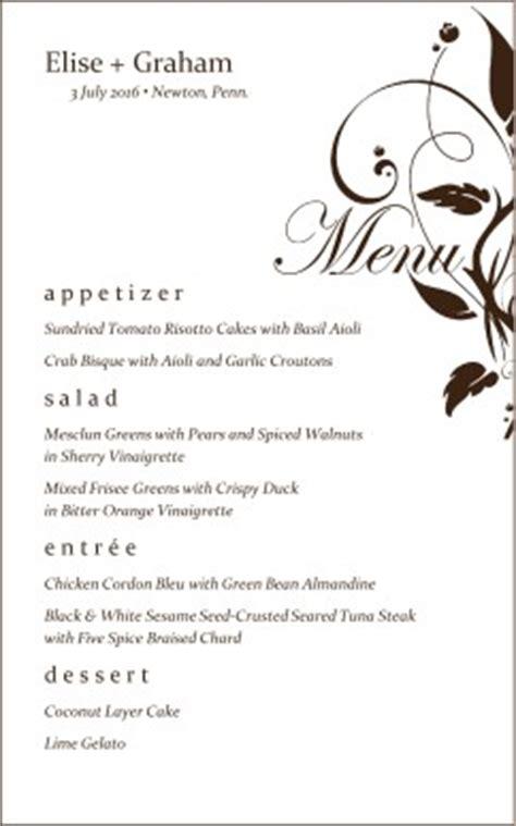 elegant wedding menu wedding archive