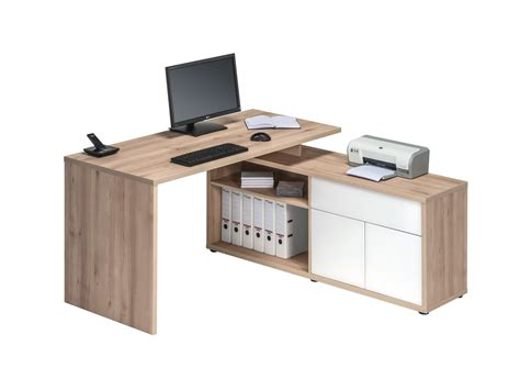 bureau office bureau d 39 angle contemporain coloris hêtre blanc brillant