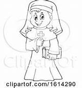 Nun Coloring Royalty Lineart Holding Cross Happy Clip Clipart sketch template