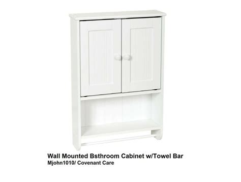 Bathroom Wall Cabinet With Towel Bar by Wooded Bathroom Wall Cabinet With Towel Bar White Ebay