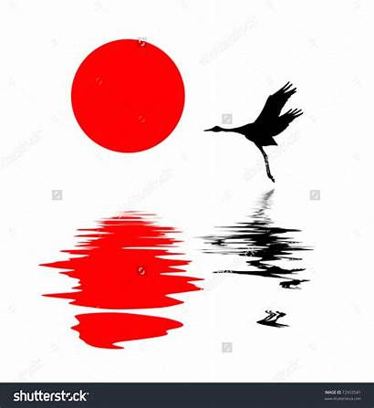 Water Silhouette Crane Vector Clipart Reflections Chi