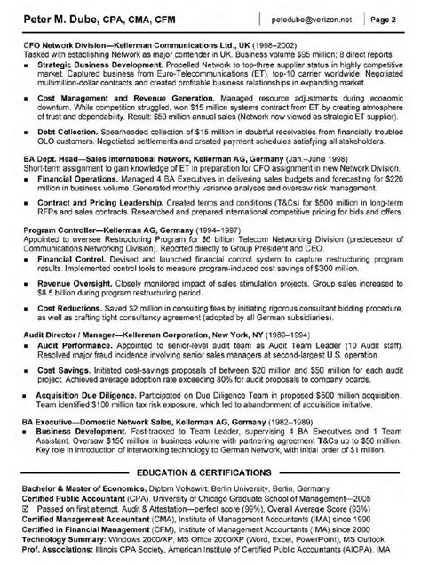 senior management resume exles accounting management accounting description