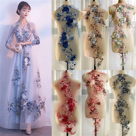 3d flower lace embroidery bridal applique pearl beaded
