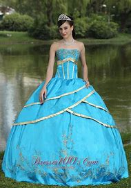 Blue and Gold Quinceanera Dresses