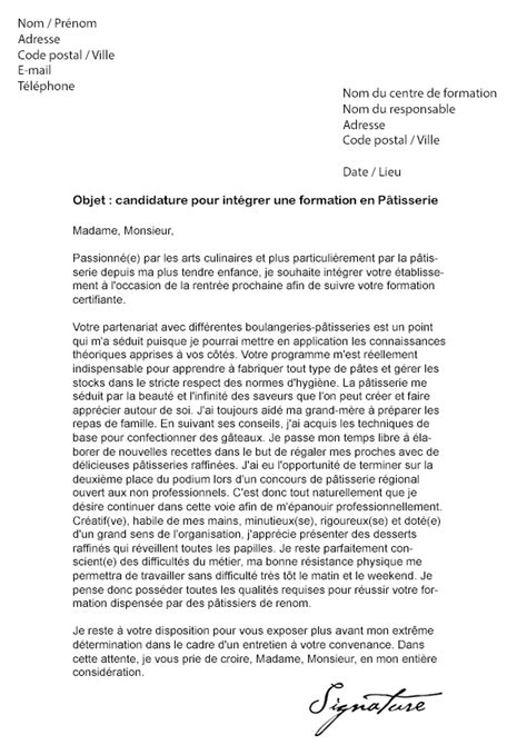 lettre de motivation cap cuisine greta lettre de motivation formation pâtisserie afpa modèle de lettre