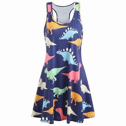 Gamiss Tunic Sleeveless Dinosaur Boho Chic Neck