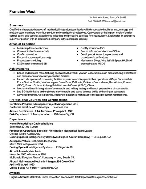 professional aerospace project manager templates to