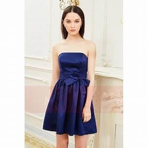 strapless blue dress with a nice bow tie c843 With robe de cocktail combiné avec bracelet papillon