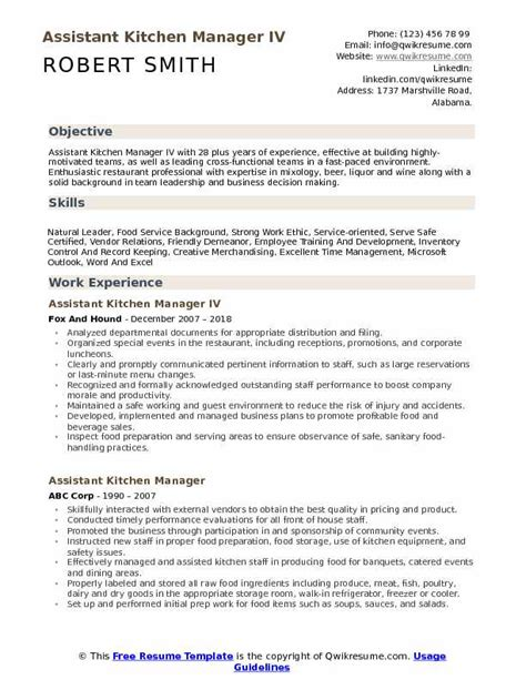 Kitchen Manager Skills Resume by Assistant Kitchen Manager Resume Sles Qwikresume