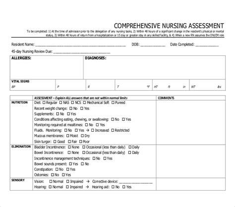 comprehensive health assessment program template sle nursing assessment forms 7 free documents in pdf