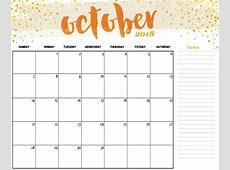 October 2018 Calendar Notes – Printable 2018 Calendar