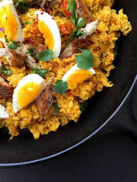 This curry inspired rice dish was brought back to the uk from colonial india and is traditionally eaten for breakfast or brunch. Cauliflower Kedgeree (grain-free, dairy-free, paleo ...