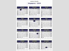 Yearly Calendar 2019 Template with Singapore Holidays Free