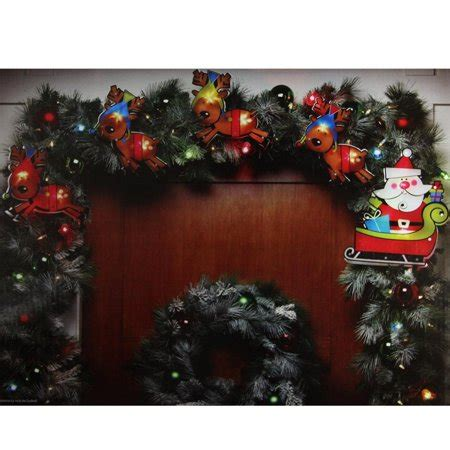 shimmering christmas lights 8 shimmering santa claus reindeer light garland with 10 clear mini lights white