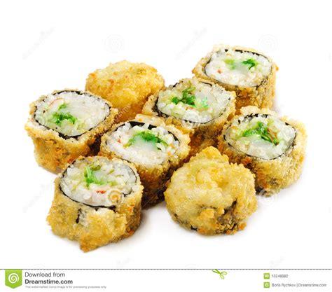 photo cuisine japanese cuisine fried sushi roll stock photo